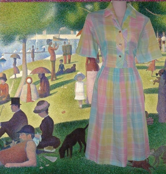 50s dress pastel madras plaid rockabilly size 8 10