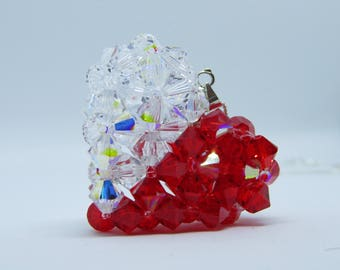 Half & Half Swarovski Crystal Heart Pendant Necklace