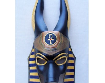 Made to Order: Egyptian Jackal Anubis Leather Mask - Underworld Masquerade Costume