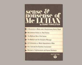 Sense & Nonsense of McLuhan by Sidney Finkelstein Critical Commentary from the Left on McLuhan's Thought 1st Edition Vintage Book Paperback