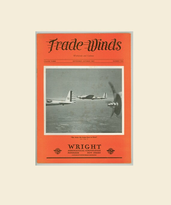 Trade Wings Magazine 1937 Published by Wright Aeronautical Co NYC Air Corp Sky Parade, Vultee Attack Bomber, Wright Aircraft, Army Air Corps