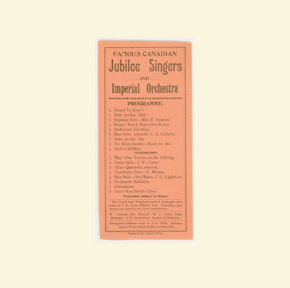 The Famous Canadian Jubilee Singers, 19th Century Black Choral Group,  Gospel Songs, 1880s Playbill, Olyphant, Pennsyvania, Antique Ephemera