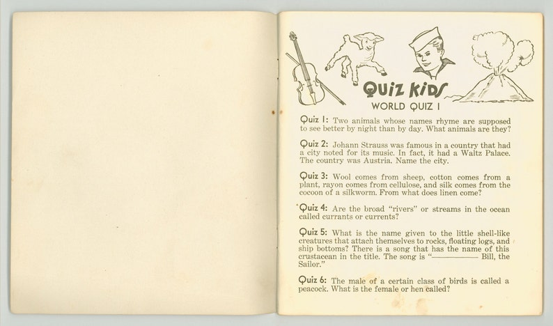 This Big World Quiz Kids Question Book, Vintage 1941 Children's Activity  Book Saalfield Cover by Peri Tucker, Geography, Nature & History
