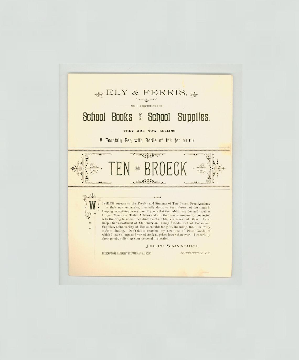 Ten Broeck Academy Franklinville New York Ten Broeck School | Etsy