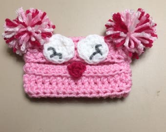 Crochet Owl Tissue/Baby Wipes Holder Available in Pinks and Blues