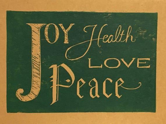Joy, Health, Love, and Peace linocut holiday card, hand printed Christmas  card, dark green on kraft
