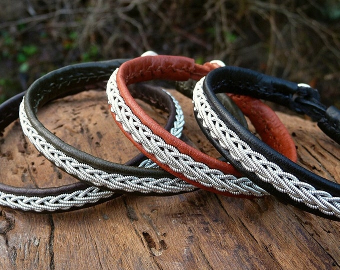 Featured listing image: THOR leather cuff bangle. Custom Lapland Sami bracelet handmade for him and her