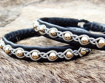 Lapland bracelet GJALL Nordic viking gold and leather cuff