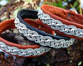 Lapland native bracelet, BIFROST Sami reindeer leather cuff, with sterling silver beads