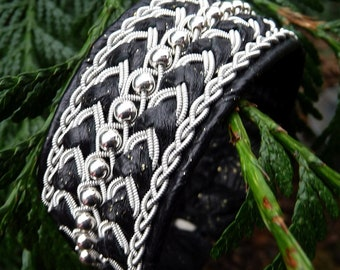 Sami Lapland leather and silver bracelet BOLTHORN Nordic viking cuff, handmade in your size and colors
