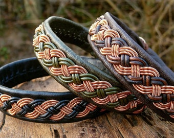 Viking Sami copper bracelet, VANAGANDR pagan leather cuff with antler closure