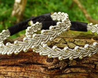 Sami silver bracelet RIMFAXE beaded pewter with leather and antler closure