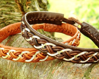Lapland reindeer leather Sami bracelet, DRAUPNIR cuff with sterling silver braid, and antler closure