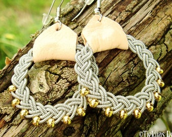 Lapland viking earrings RIMFAXE Sami pewter jewelry with 14k gold beads