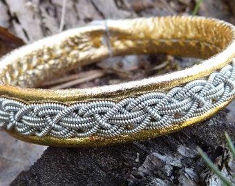 Sami Lapland bracelet KRAKA pewter and leather cuff with antler closure, handmade in Denmark