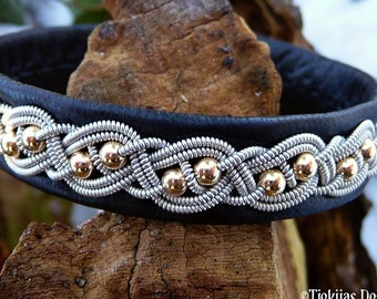 BIFROST Sami gold and Lapland leather bracelet, with reindeer antler button closure, custom handmade in your color and size