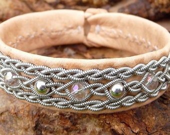 Arctic Lapland bracelet YDUN indigenous Sami reindeer leather cuff, with silver and crystal beads