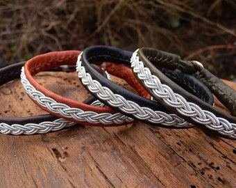 Sami bracelet LIDSKJALV unisex cuff in reindeer leather or lambskin, with antler closure, and in your color and size
