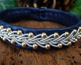 Scandinavian Sami bracelet SKINFAXE cuff, with 14k gold beads woven in pewter braids, on reindeer leather, antler closure