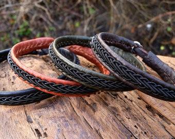 THOR viking bracelet. Sami Lapland unisex leather wristband with black copper