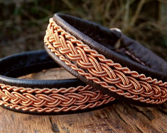 Nordic Sami bracelet, MJOLNIR reindeer leather cuff with copper braids