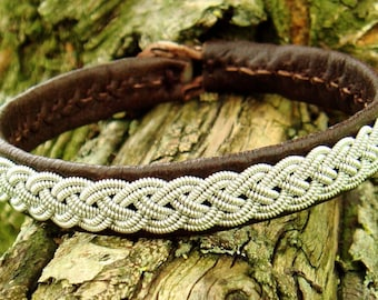 ASGARD traditional Sami bracelet. Pewter braid on reindeer leather, with antler button closure, in your color and size