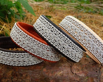 SKADI Sami reindeer and pewter cuff bracelet. Handmade Scandinavian Folklore