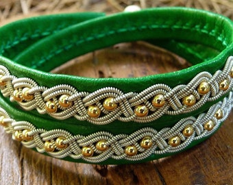 BIFROST Sami double wrap leather bracelet with 14k gold beads and antler closure