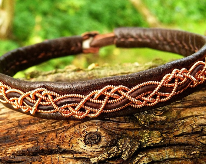 Featured listing image: Pagan leather and copper Nordic Sami bracelet cuff HUGINN