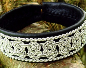 Lapland Sami bracelet BEOWULF pewter and leather cuff, handmade in Denmark, and in your color and size
