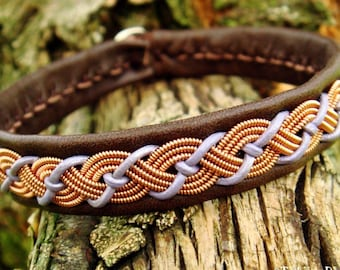 Indigenous Sami Lapland leather and copper bracelet VALHAL, with reindeer antler button closure, in your size and colors