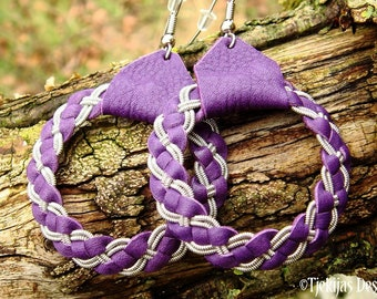 Sami viking earrings FENRIR pewter and leather dangle hoops, handmade in your color