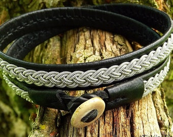 Scandinavian native leather wrap Sami bracelet ASGARD with Laplander pewter braid and antler