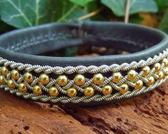 Swedish Lapland Sami bracelet, ROSKVA gold beaded reindeer leather cuff, with antler closure