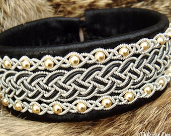 Viking Sami bracelet GERI leather cuff with 14k gold beads