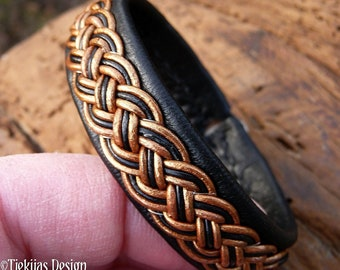 Lapland viking leather braided Sami bracelet FREKI cuff in your colors and size