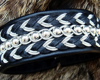 Arctic Lapland Sami bracelet. BESTLA leather cuff with sterling silver beads and reindeer antler button closure