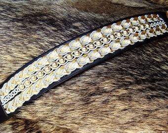 Luxury Lapland viking leather bracelet. BESTLA 14k gold beaded cuff