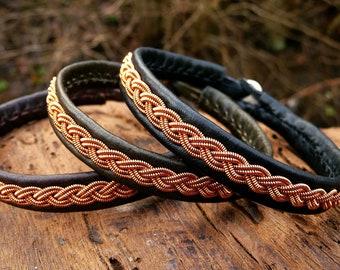 Sami copper braid bracelet. Leather wristband, LIDSKJALV viking cuff
