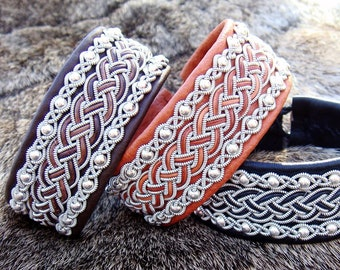 Lapland viking leather cuff, GERI Sami bracelet with sterling silver beads woven in spun pewter