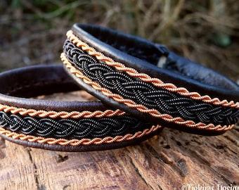 Lapland Sami bracelet MJOLNIR leather bracelet with black and copper braids