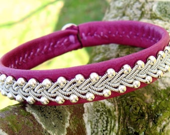 Swedish Sami viking bracelet SKINFAXE leather and sterling silver cuff