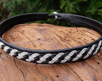 Viking necklace, Sami leather choker, Nordic handmade folklore VANAGANDR custom handmade