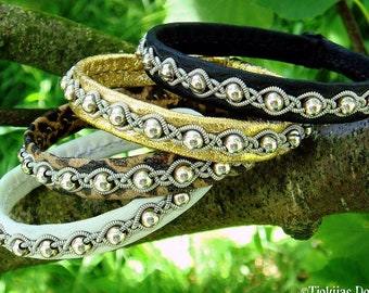 Pagan leather bracelet. Silver beaded Sami wristband GJALL, with antler closure