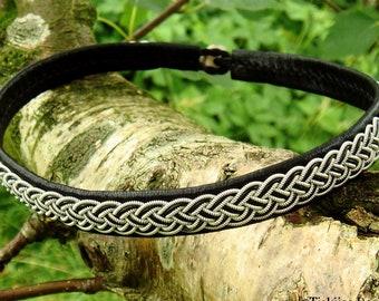 Scandinavian Sami necklace FREKI Nordic viking choker, pewter and leather collar