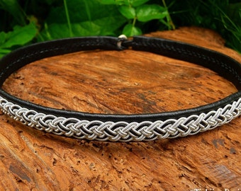 Sami necklace, viking leather collar, NIFLHEIM pagan choker with pewter braid