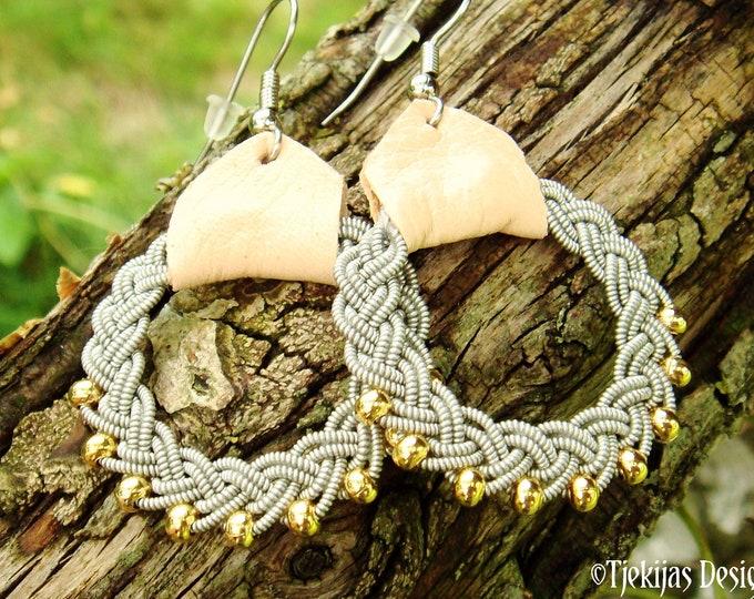 Sami earrings, RIMFAXE Lapland viking jewelry, handmade with 14k gold beads