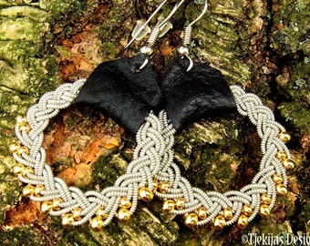 Viking Sami pewter and gold earrings GULDFAXE custom Nordic jewelry