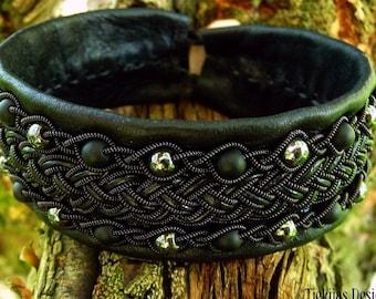 Norse Sami bracelet cuff GERI black copper, onyx and hematite