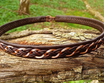 Leather and copper Sami choker DRAUPNIR handmade Norse pagan necklace